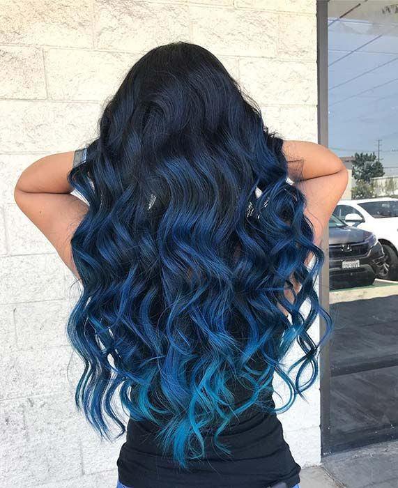 Black to Navy Blue To Light Blue Ombre Hair