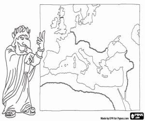 desenho de Imperador e o mapa do Império Romano para colorir
