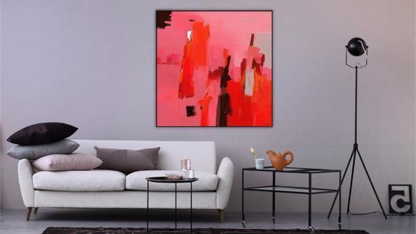 Tableau numérique abstrait moderne rouge rose signé par l'artiste - Edition limitée de 8 tirages sur toile ou Plexi - galerie d'art - galerie TACT ://