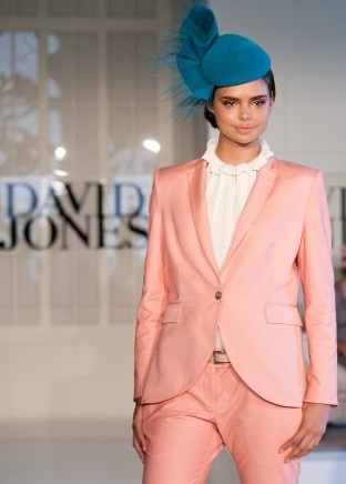 Camilla and Marc Salmon blazer, pant, cream blouse and Nerida Winter teal headpiece by David Jones. #passion4hats