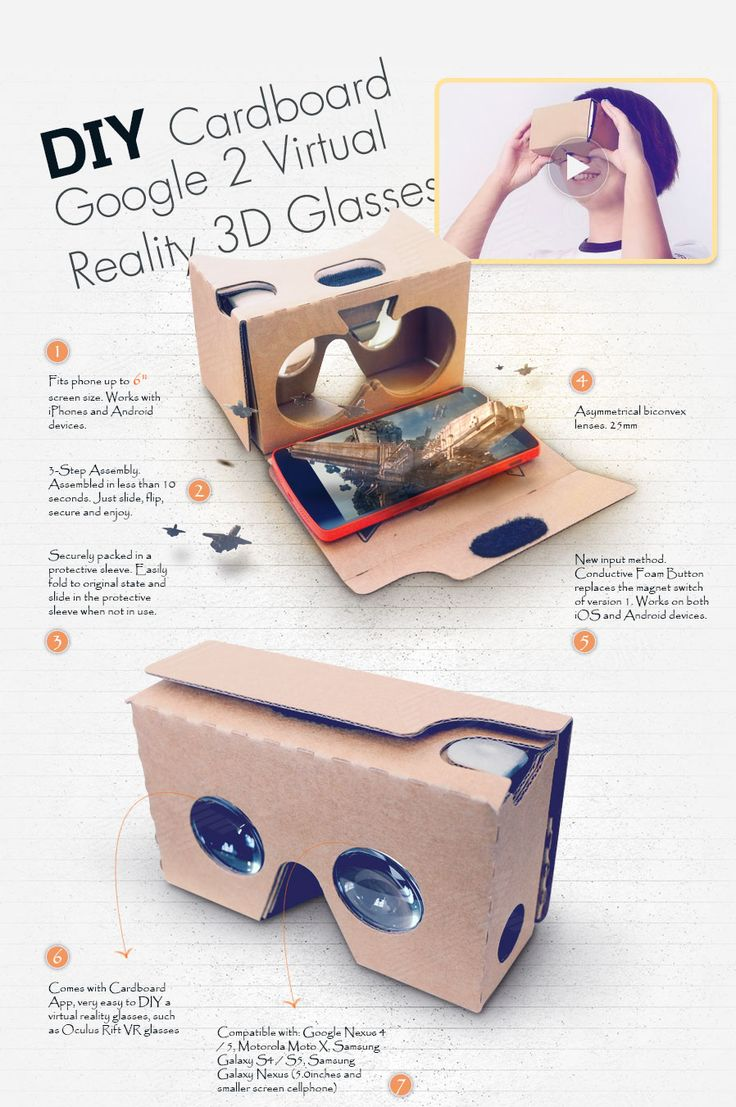 DIY Cardboard Google 2 Virtual Reality 3D Glasses for IPHONE 6 - Yellow - Free Shipping - DealExtreme