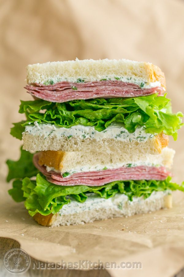 Mmm Salami... This salami and cream cheese sandwich can be made made in advance - Perfect for work or school lunch!   NatashasKitchen.com