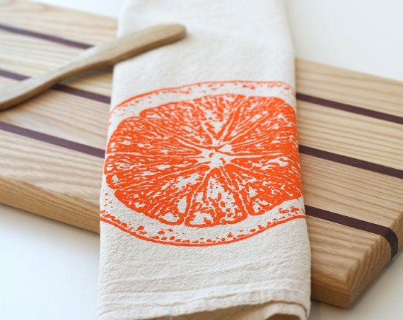 Natural Flour Sack Tea Towel - Orange Slice - Hand Screen Printed. $12.00, via Etsy.