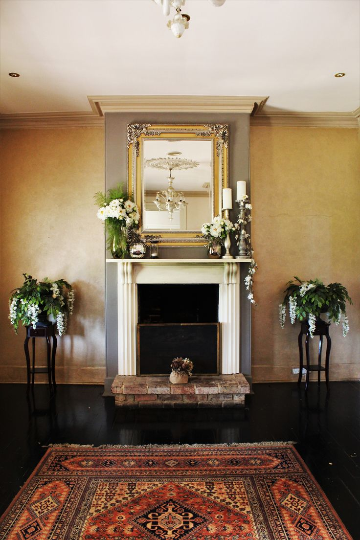 Just off our drawing room, the fireplace styled so beautifully by @visuallycr8tive | Elegeant and timeless wedding | Sydney Wedding Venue | Eschol Park House