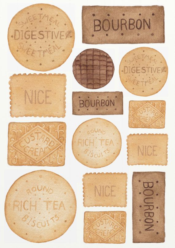 British Biscuits Illustration Print from Original Watercolour Painting A5