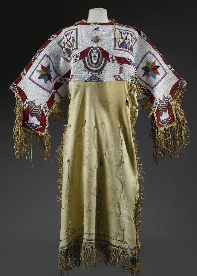 SIOUX BEADED HIDE PICTORIAL DRESS