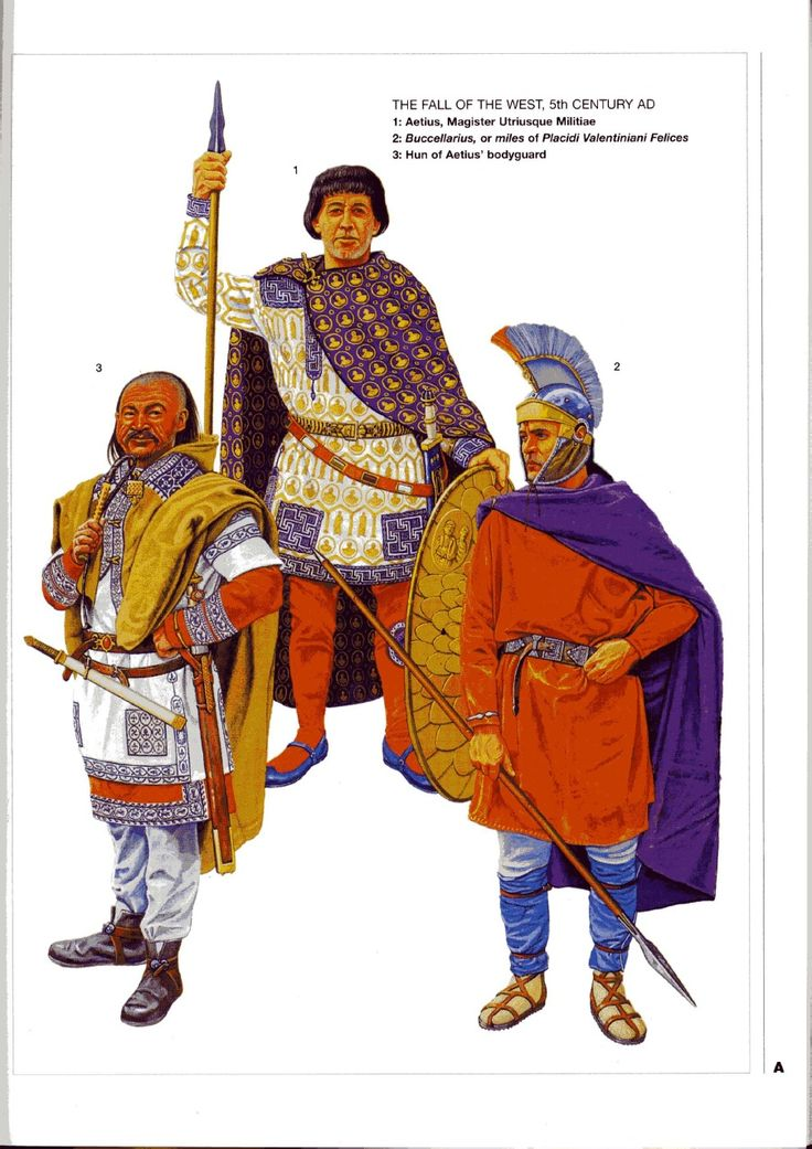 Roman general Flavius Aetius (center), with his bodyguards, c. 451 AD. Aetius successfully defended the crumbling West Roman Empire from Hun invasions led by the infamous Attila the Hun.