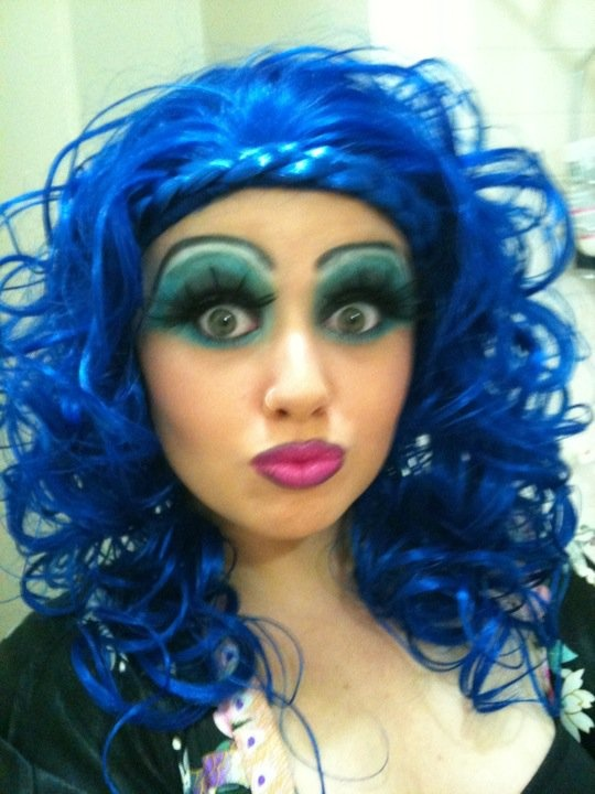 Me as a Man dressed as a Woman lol Confised yet Drag Queen parties are good fun #drag #queen #blue #wow #makeup #lashes