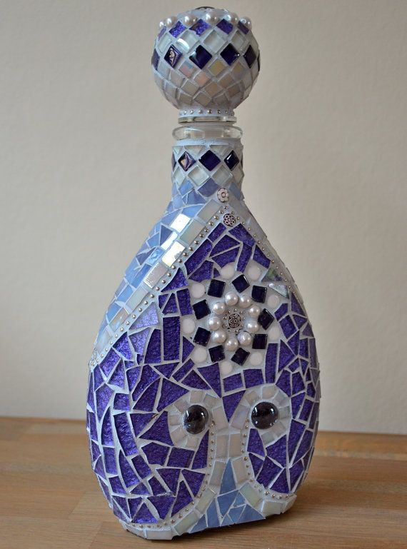 Purple glass mosaic bottle