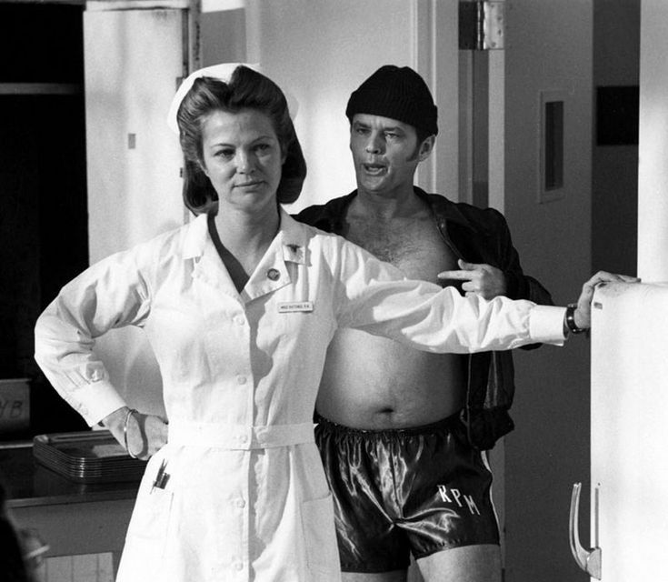 Louise Fletcher with Jack Nicholson on the set of One Flew over the Cuckoo's Nest (1975).