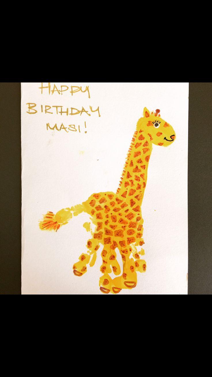 Baby Handprint Super Cute Giraffe Birthday Card Crafts Print Arty Farty Art Happy Birthday Aun Birthday Card For Aunt Birthday Card Craft Baby Handprint