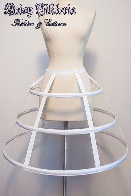 White Short Cage Hoop Skirt Steel Boned by fqcouture on Etsy