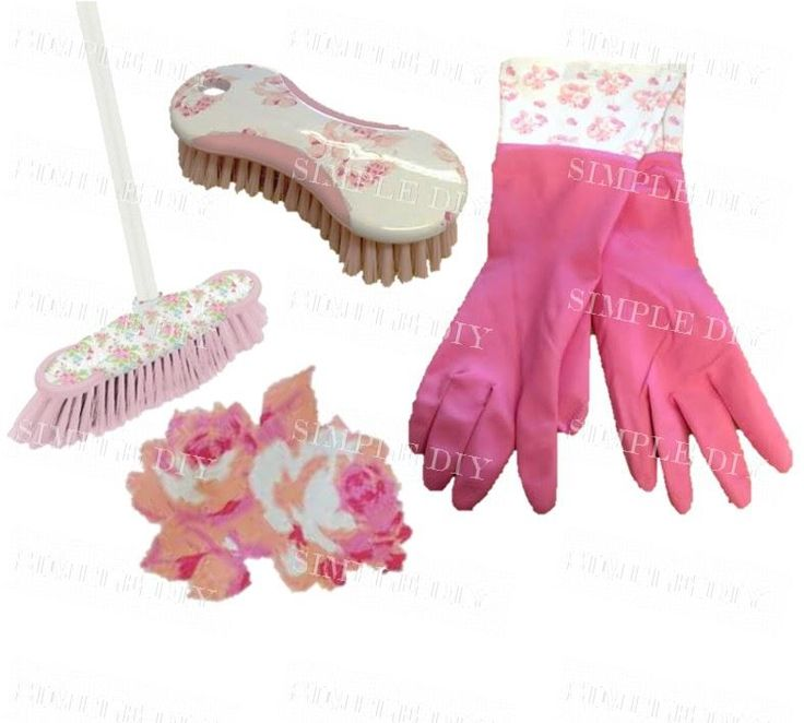 Rose Indoor Sweeping Broom Set Hand Scrubbing Brush Pink Washing Up Gloves