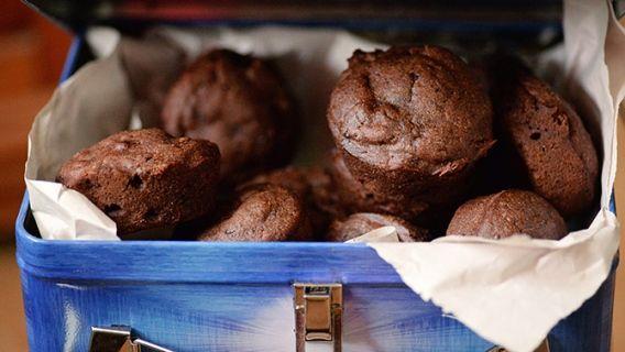 Muffins chocolat-courgette, sans œuf et sans lait