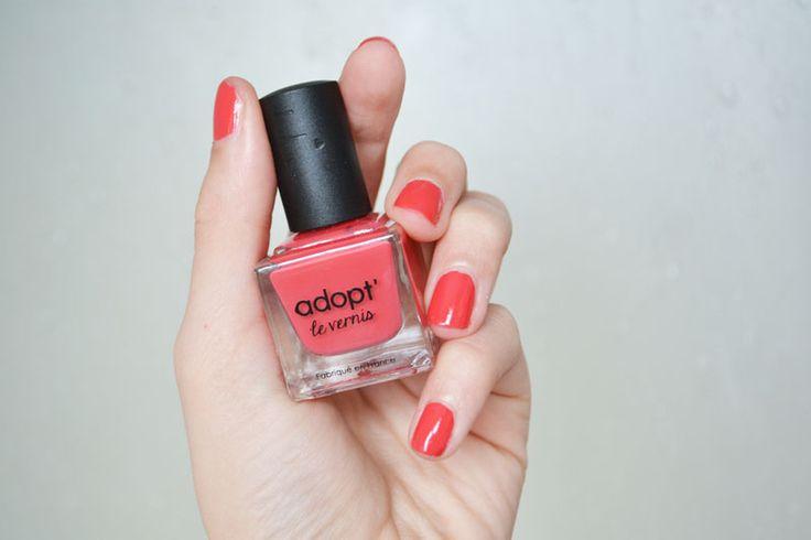 Nails, adopt, reserve naturelle, red, orange, corail #Nail #coral #orange #red #nailpolish #adopt