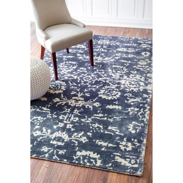 nuLOOM Handmade Vintage Abstract Wool Blue Rug (8'6 x 11'6) | Overstock.com Shopping - The Best Deals on 7x9 - 10x14 Rugs