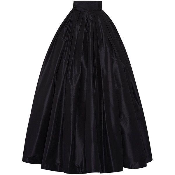 Naeem Khan Taffeta Ball Skirt found on Polyvore featuring skirts, high rise skirts, pleated maxi skirt, naeem khan, floor length skirt and ball skirt