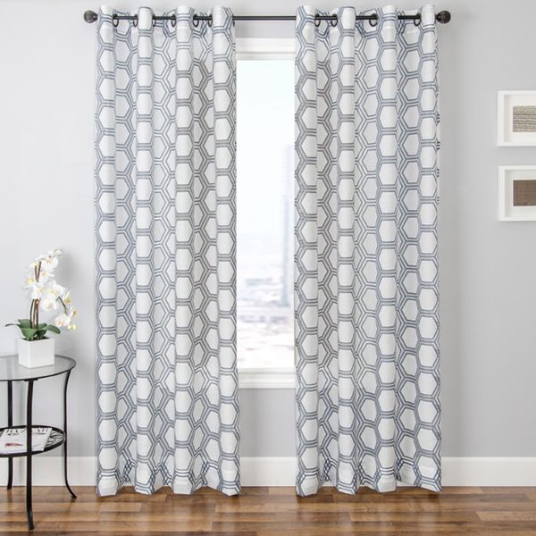 Andres Burnout Sheer Geometric Curtain Panel  Overstock