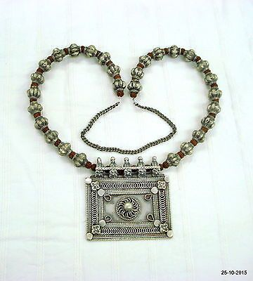 vintage antique tribal old silver necklace amulet pendant belly dance jewelry