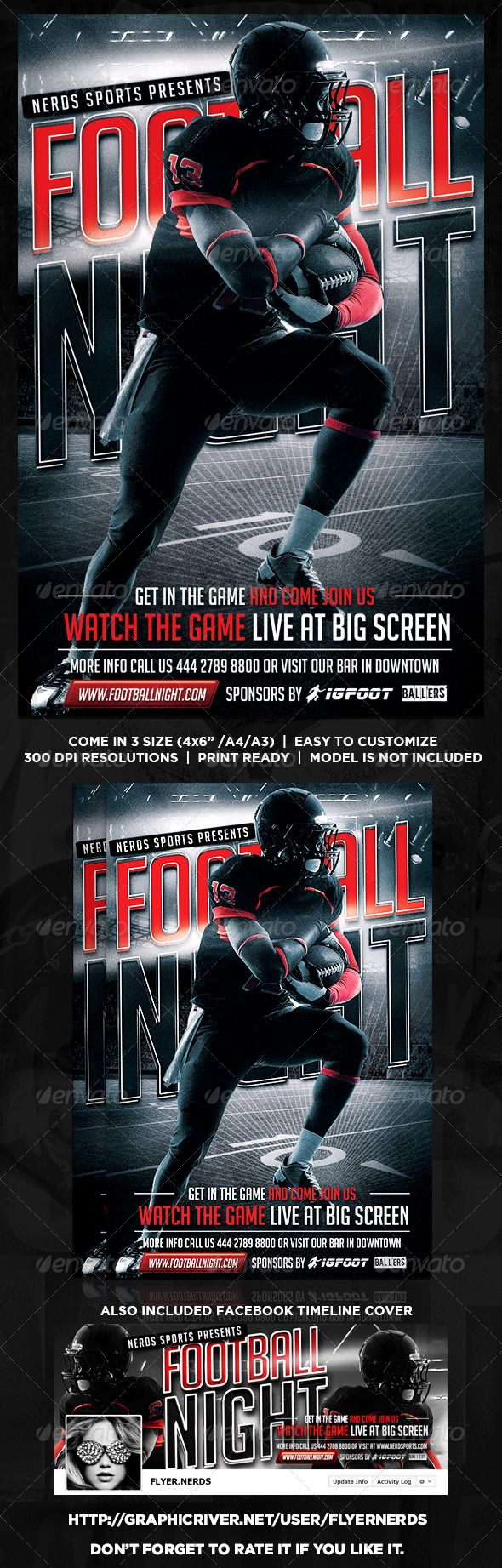 """Football Night Flyer by flyernerds Football Night Flyer Description :Come in 3 Size : 4x6"""" / A4 / A3 with bleedAlso included Facebook Timeline (as shown at preview i"""