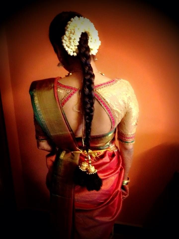 I get so confused while designing a blouse for a traditional silk saree.. This looks nice and different!