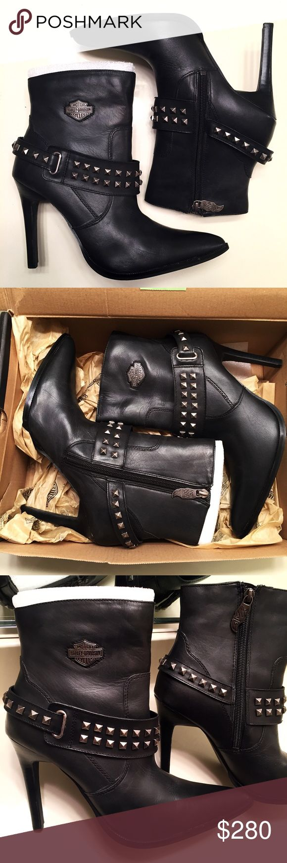 NEW Harley Davidson black leather heels size 9 Brand new, never worn, still with tags and come in original box. Black genuine leather Harley-Davidson pumps with metal studded buckles and size zippers. Women's size 9. These heeled boots are no joke!! Incredibly sexy style Harley-Davidson Shoes Heeled Boots