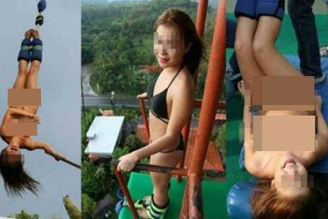 FOTO TURIS TIONGKOK NEKAT LAKUKAN BUNGEE JUMPING TANPA BUSANA DI THAILAND GEGERKAN MEDIA