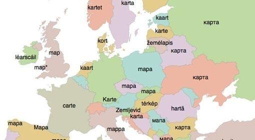 Cette carte traduit des mots anglais en plus de 30 langues européennes | Slate