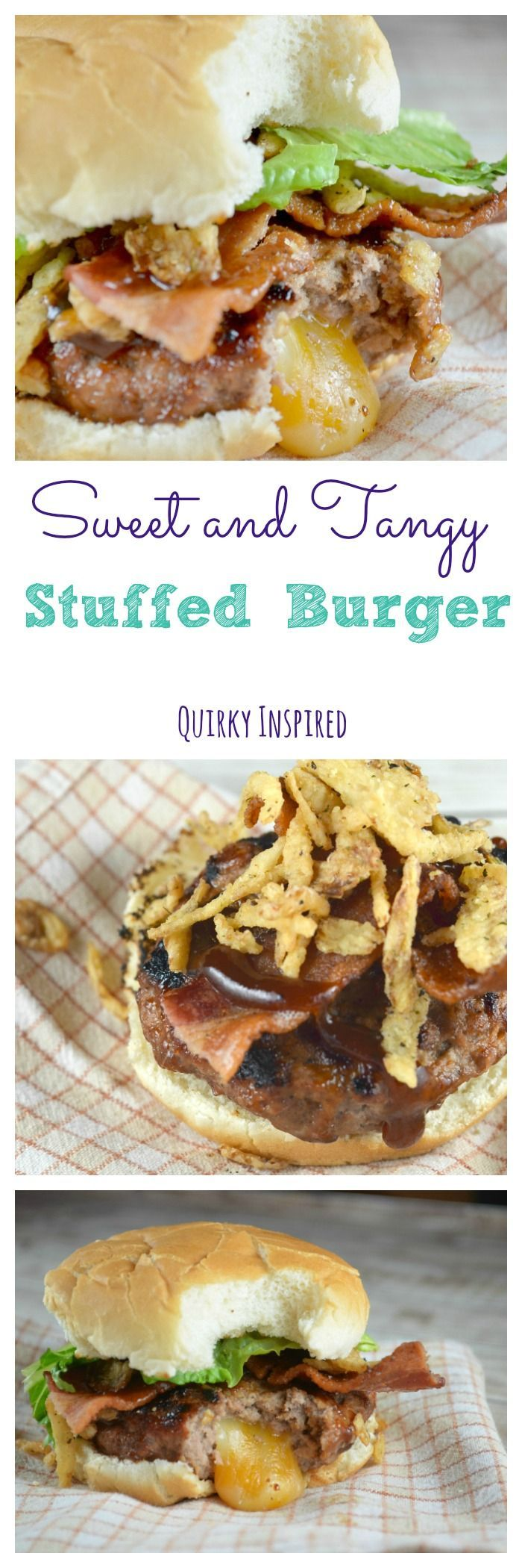 Friends don't let friends eat boring hamburgers. Stuffed hamburgers aren't complicated, especially with my handy dandy super tool. This stuffed burger recipes are punched with flavor. Love that it's sweet and tangy plus it's like making your own juicy lucy at home!  Click the pin for the full recipe, and to find out how I make them easy breezy!