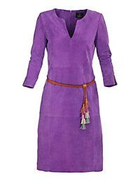 Madeleine Jurk Suèdeleer Madeleine Mode violet paars suede leather dress purple