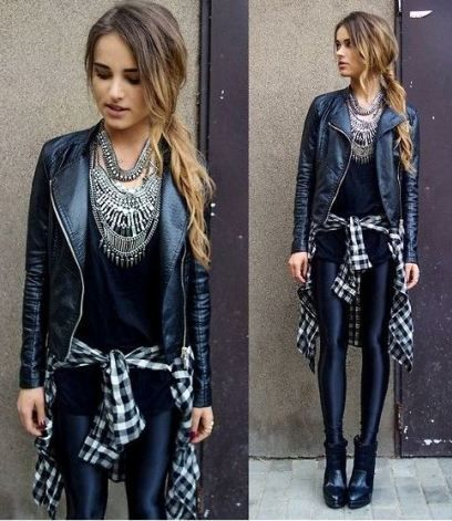This leather leggings outfit is so cute for fall or winter!