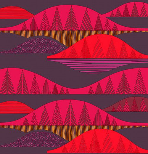 Marimekko has some awesome fabrics for fall/winter in wonderfully warm color palettes. Both of these styles were created by Sanna Annukka. The print above, Kultakero, was inspired by the Kultakero hills in Finland.
