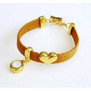 Camel Leather Heart & Swarovski Bead Bracelet #leather bracelet