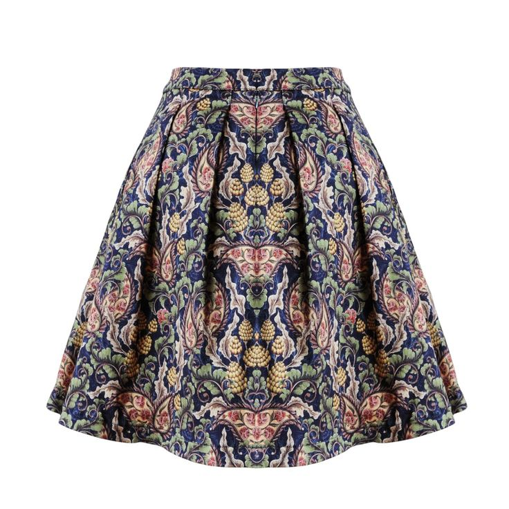Tulip high-waisted denim skirt. Two pockets. Special digital printing technique. An unique pattern perfectly matches with autum colors. Wear it with our Pom-Pom shirt or with a cozy blue pull-over.