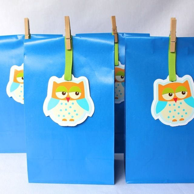 Image of Happy Blue Owl Paper Party Bags