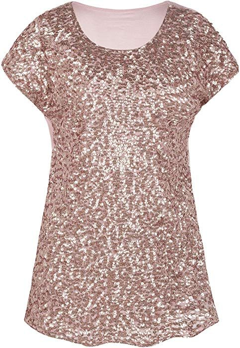 420a2221132c39 PrettyGuide Women s Evening Tops Sparkle Shimmer Glam Sequin Blouse Rose  Gold S US6-8 at Amazon Women s Clothing store