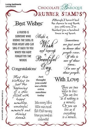 Loving Sentiments Unmounted Rubber stamp sheet