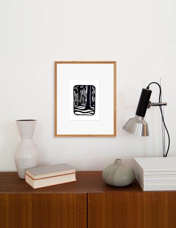 Forest Monochrome Linocut Print. Hand signed and numbered (edition of 25)