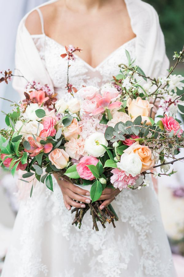 Bohemian Romance Under The Cherry Blossoms Cherry Blossom Wedding Bouquet Cherry Blossom Wedding Theme Spring Wedding Flowers