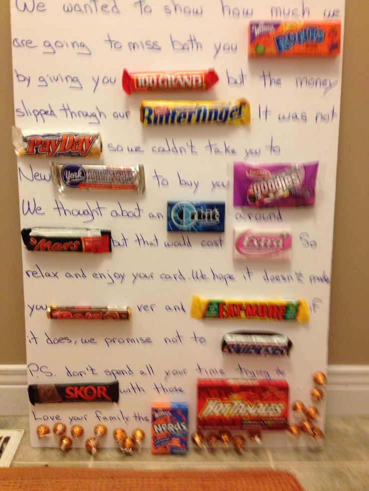 Chocolate going away card - I made this for my niece who ...