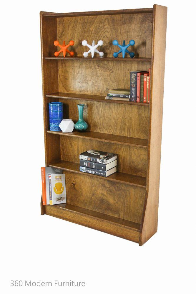 Mid Century Bookcase Shelves Solid Oak Sideboard Vintage Retro Slim Wall  Unit