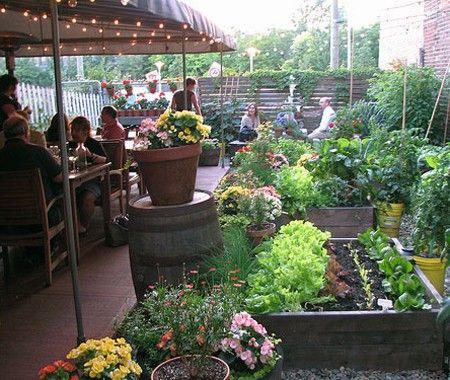 Container garden at Joe Beef Restaurant, Montreal.