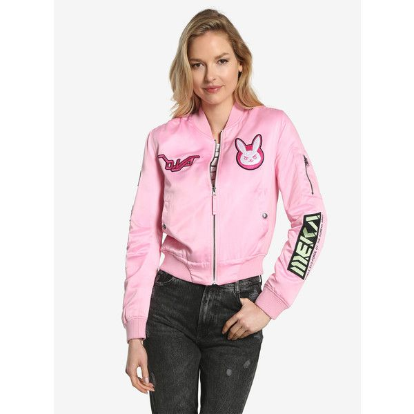 Overwatch D.Va Patch Womens Bomber Jacket (€97) ❤ liked on Polyvore featuring plus size women's fashion, plus size clothing, plus size outerwear, plus size jackets, patch jacket, pink bomber jackets, flight jackets, pink jacket and patch bomber jacket