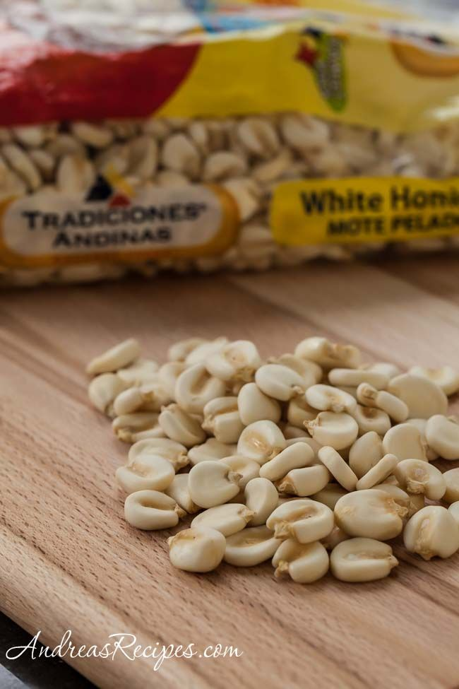 How to Cook Dry Hominy, a large kernel corn used in Mexican soups. A great pantry item!