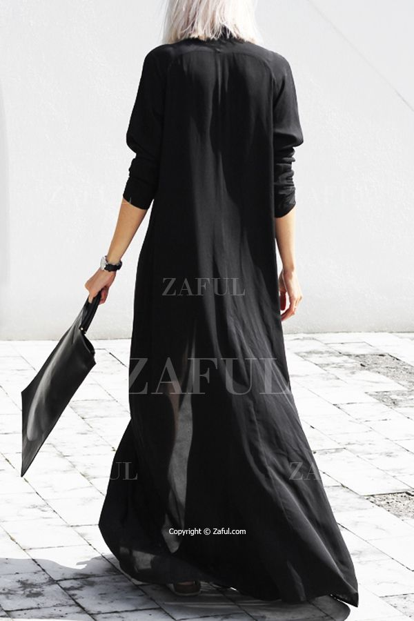 Black Chiffon Flat Collar Long Sleeves Maxi Dress BLACK: Maxi Dresses | ZAFUL
