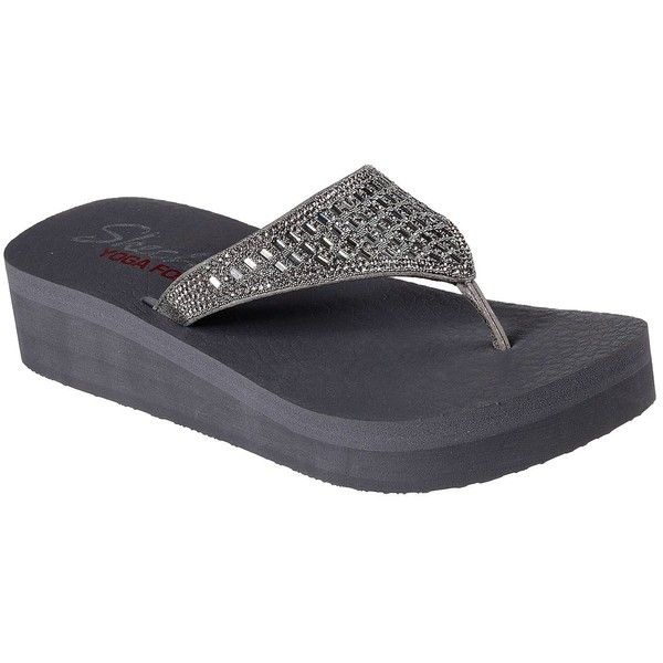 Skechers Women's Vinyasa Silver - Skechers ($44) ❤ liked on Polyvore featuring shoes, sandals, flip flops, silver, skechers flip flops, flat thong sandals, silver flip flops, silver thong sandals and sparkly flip flops