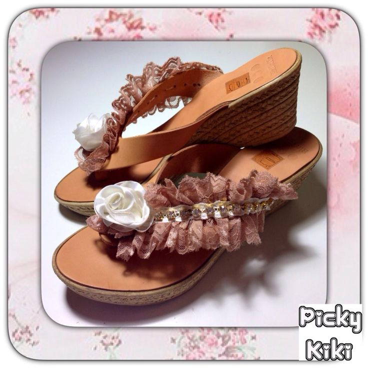 LOVELY MAMA  wedges Genuine leather, white rose