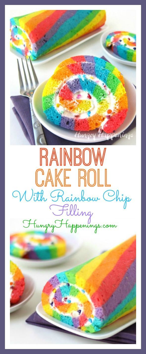 This St. Patrick's Day enjoy a slice of brightly colored Rainbow Cake Roll filled with Rainbow Chip Frosting instead of searching for that elusive pot of gold.