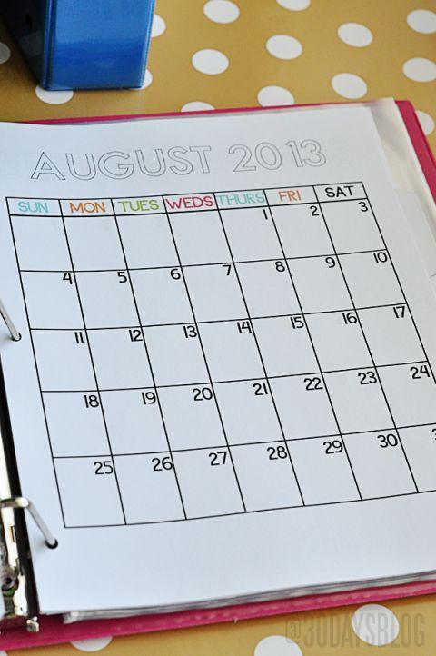School Binder Printables Calendar www.thirtyhandmadedays.com