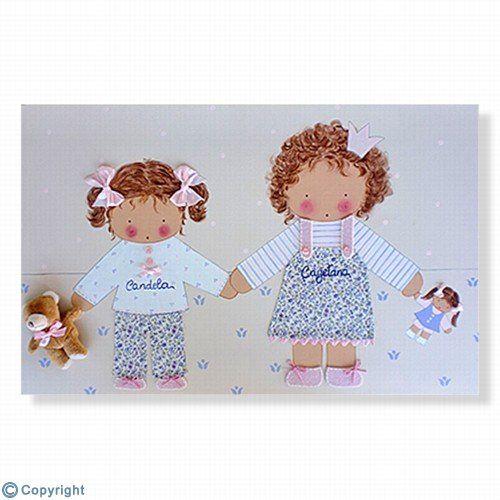 Cuadro infantil personalizado: Dos hermanitas (ref. 12040-01)